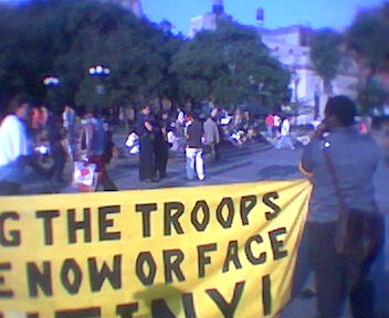 RNC Protests in Union Square, 2004.  Cell phone camera quality wasn't quite what it is today. :)