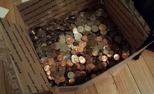 Box o' Change before the few bank notes were added