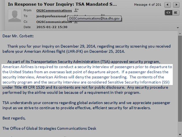 TSA Reply