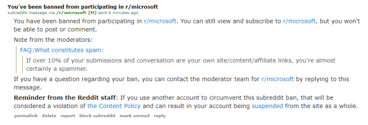 Banned from /r/Microsoft