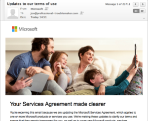 Update to the Microsoft Services Agreement E-mail