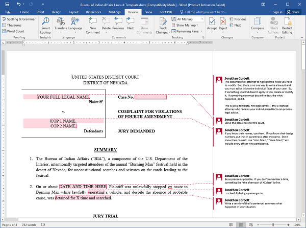 BIA Lawsuit Template