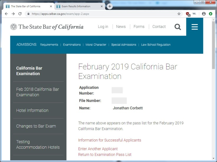 Jon Passes California Bar Exam