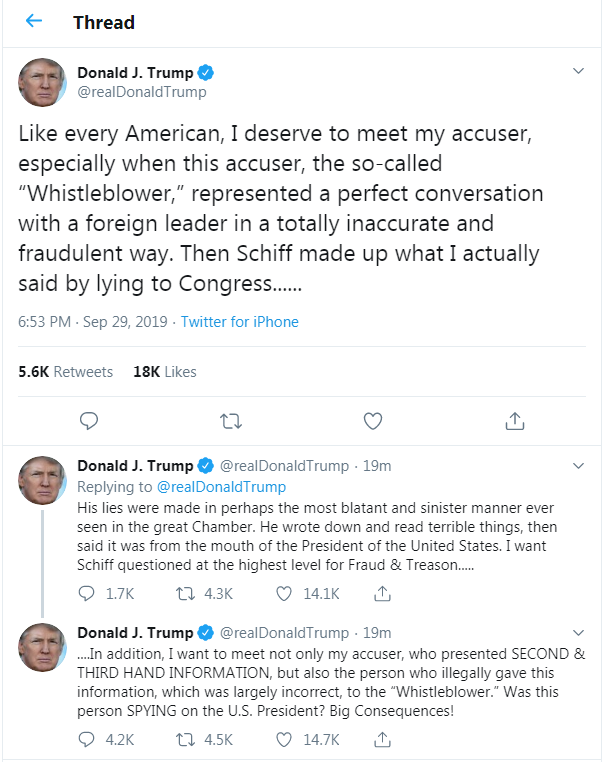 Trump Threatens Whistleblower