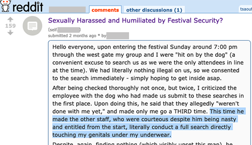 Sexually Harassed and Humiliated by Festival Security