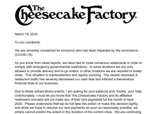 Cheesecake Factory No Rent Notice