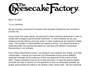 Cheesecake Factory No Rent Notice