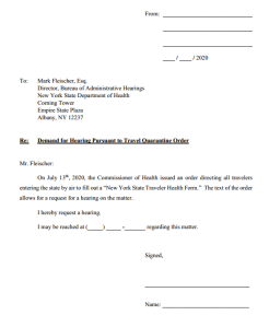 Quarantine Hearing Request Form