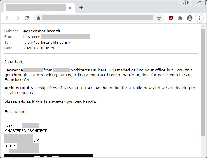 Initial Scam E-mail